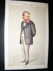 Vanity Fair Print 1871 Edward Miall, Newspaperman